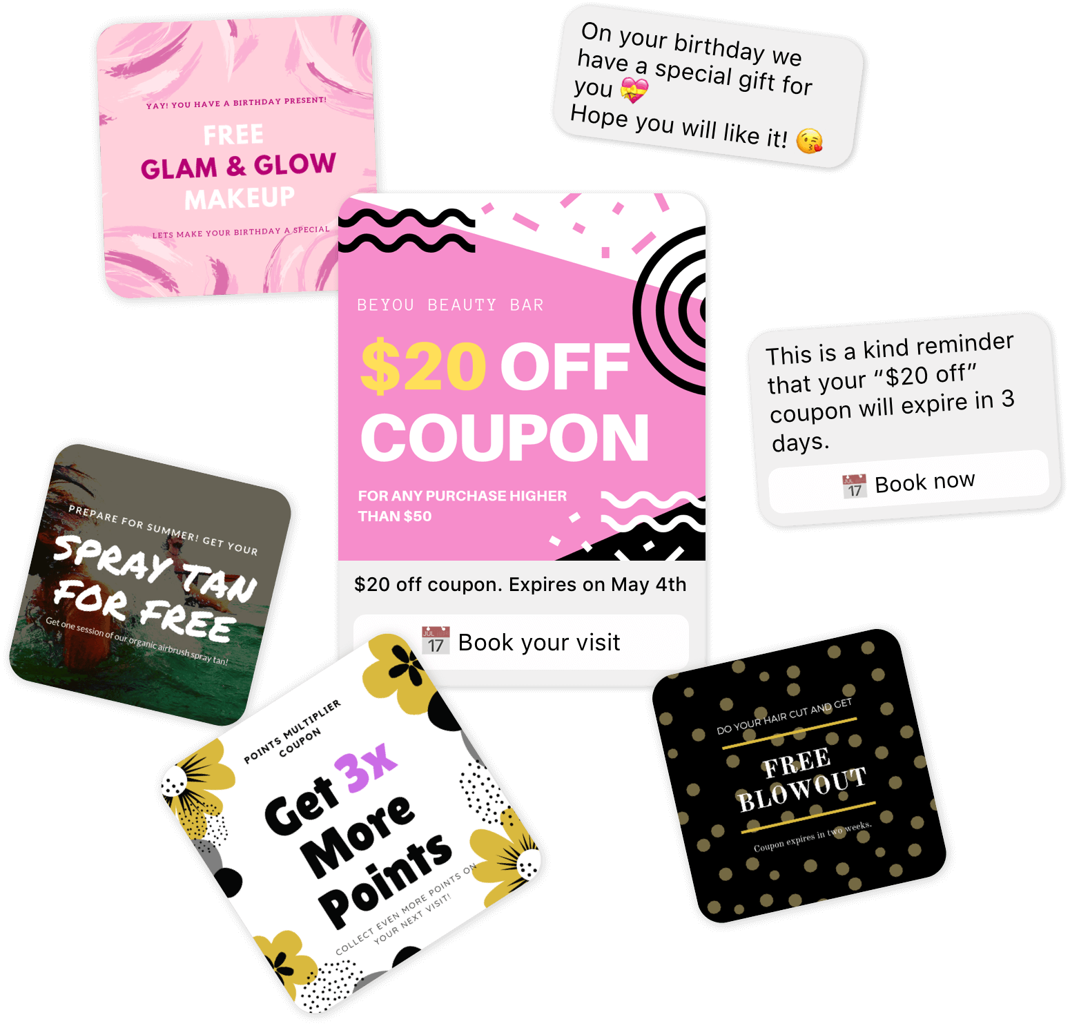 Rewards, gifts, coupons and vouchers part of Messenger based salon and spa rewards program