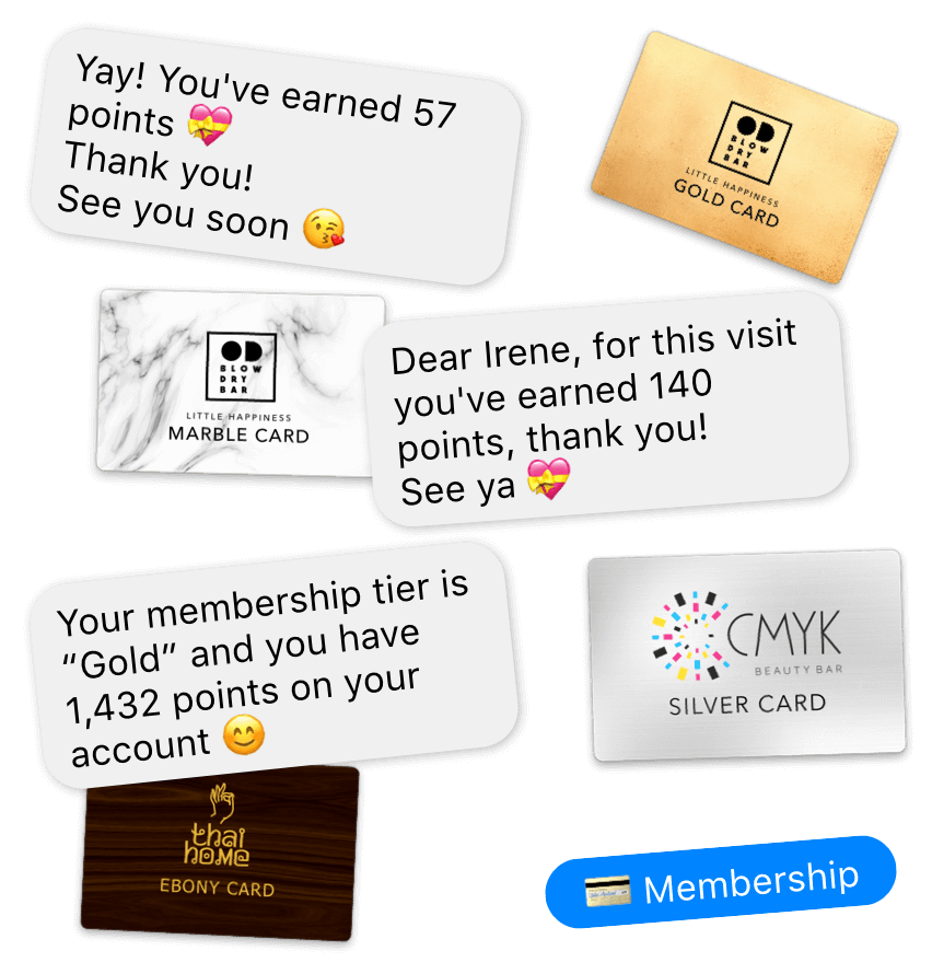 Loyalty program for salons and spa that works in the Messenger and Instagram
