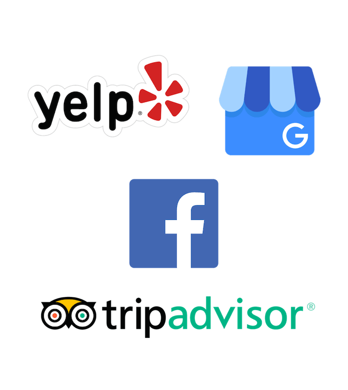 Get reviews on Yelp, Google, Facebook and TripAdvisor